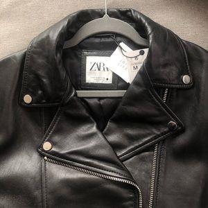 NWT ZARA Leather Biker Jacket Medium